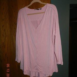 H by Halston Soft Pink Deep V Neck Slinky Top